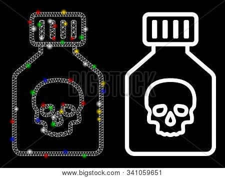 Flare Mesh Poison Phial Icon With Sparkle Effect. Abstract Illuminated Model Of Poison Phial. Shiny