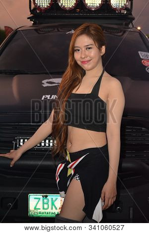 PASAY, PH - DEC. 7: FUBU brand female model at Bumper to Bumper 15 on December 7, 2019 in Mall of As
