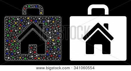 Flare Mesh Realty Case Icon With Glare Effect. Abstract Illuminated Model Of Realty Case. Shiny Wire