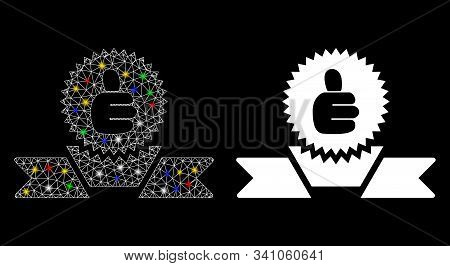 Glowing Mesh Recommended Label Icon With Lightspot Effect. Abstract Illuminated Model Of Recommended