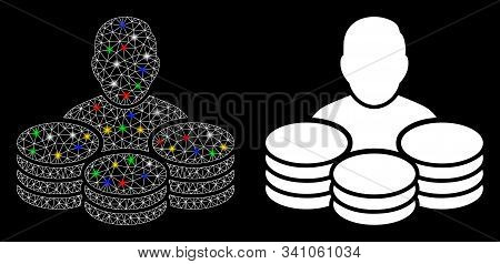 Flare Mesh Rich Man Icon With Lightspot Effect. Abstract Illuminated Model Of Rich Man. Shiny Wire F