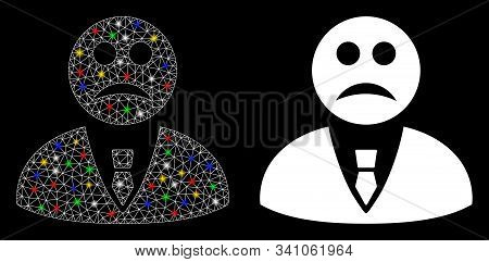Glowing Mesh Sad Manager Icon With Sparkle Effect. Abstract Illuminated Model Of Sad Manager. Shiny