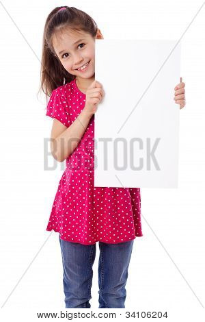 Girl standing with empty paper