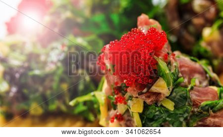 Salmon Roe With Sashimi And Rice Bowl Or Donburi In Japanese Style Food. Shrimp With Rice In Close-u