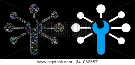 Glossy Mesh Service Wrench Relations Icon With Sparkle Effect. Abstract Illuminated Model Of Service