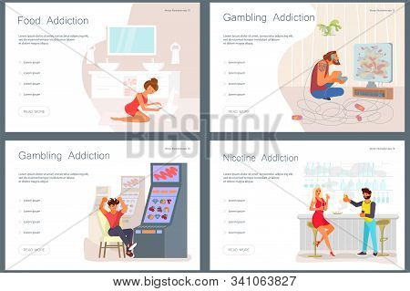 Set Of Landing Web Page Template Addicted And Bad Habits People. Unhealthy Lifestyle. Alcoholism Dru