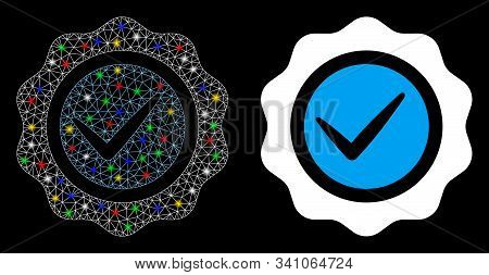 Glowing Mesh Valid Seal Icon With Glare Effect. Abstract Illuminated Model Of Valid Seal. Shiny Wire