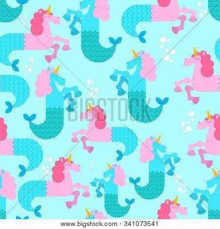 Water Unicorn Hippocampus Pattern Seamless. Mythical Animal Background . Heraldic Beast Texture. Sea