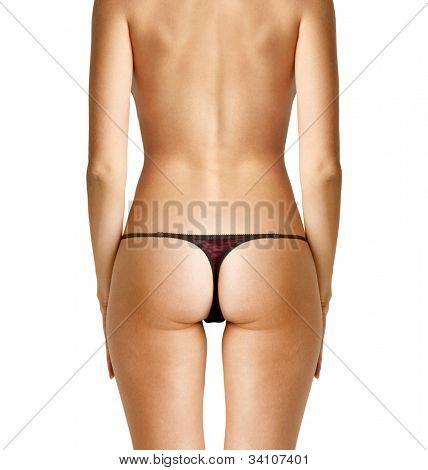 closeup back of nude beautiful woman with path