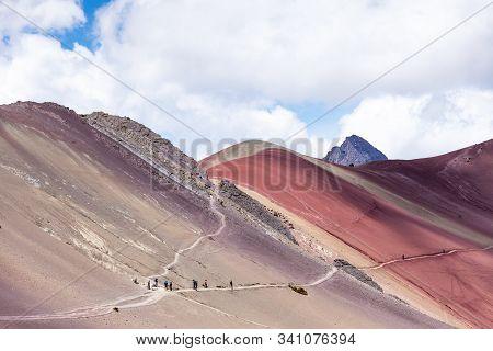Trail Along Rainbow Mountains Of Peru. Peruvian Andes. Ausangate Mountain. Side View