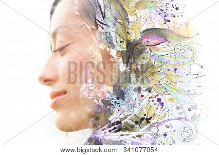 Paintography. Portrait of a woman combined with a painting