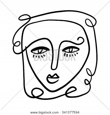 Abstract Fashion Artistic Portrait Painted Illustration Of People Face Silhouette One Line Drawing A