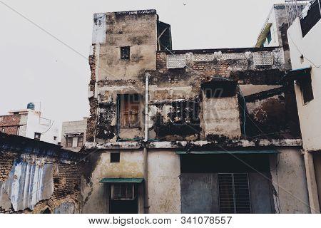 Old Decrepit Abandoned Building In Old Delhi India
