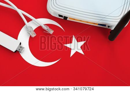 Turkey Flag Depicted On Table With Internet Rj45 Cable, Wireless Usb Wifi Adapter And Router. Intern