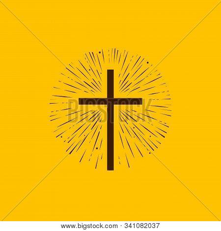 Christianity Symbol Of Jesus Christ. Cross, Worship Logo. Vector Illustration