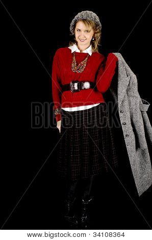 Lovely young model in winter fashion