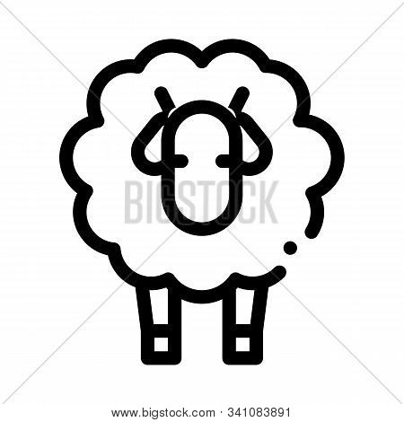 Woolly Sheep Lamb Animal Icon Vector. Outline Woolly Sheep Lamb Animal Sign. Isolated Contour Symbol