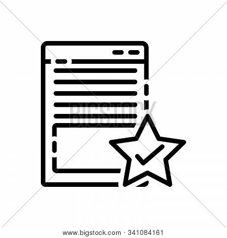 Black Line Icon For Page-quality Attribute Document Merit Merits Page Quality