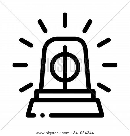 Police Squad Car Alarm Icon Vector. Outline Police Squad Car Alarm Sign. Isolated Contour Symbol Ill