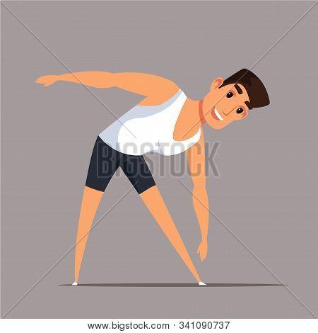 Man Doing Morning Exercises Vector Illustration. Sportive Boy Bending, Reaching Toes Cartoon Charact