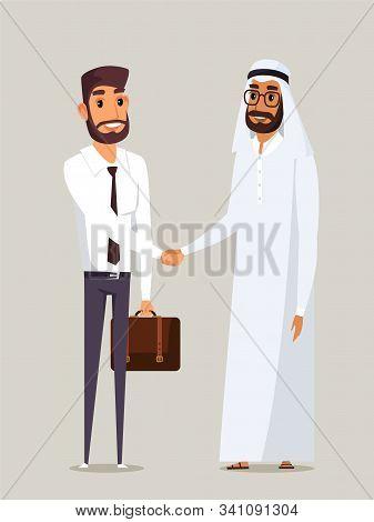 Business Partners Handshake Flat Illustration. European And Arab Businessmen Shaking Hands. Successf
