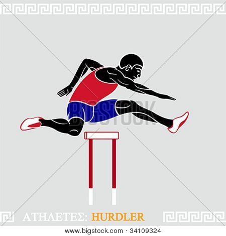 Greek art stylized hurdler fly over hurdles