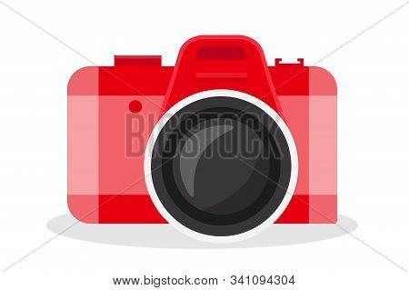 Red Camera Vector Cartoon Illustration. Photography Equipment Flat Clipart. Taking Snapshot During V