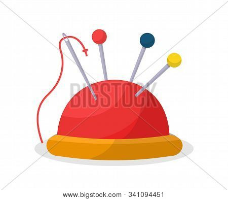 Sewing Pin Cushion Flat Vector Illustration. Pins And Needle With Thread In Pincushion Isolated Clip