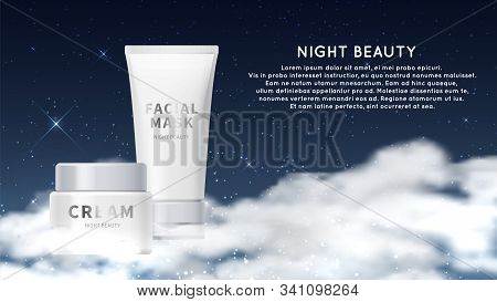Night Cosmetic Background. Cream Facial Mask Tubes Realistic Mockup. Vector Cosmetics Background. Co