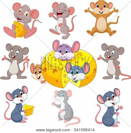 Vector Illustration Of Cartoon Funny Mouse Collection Set