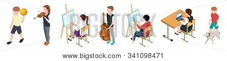 Children And Hobbies. Isometric Kids Set. Vector Hobby For Drawing, Music, Sports, Computer, Animals