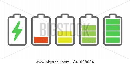 Battery Charge Indicators. Energy Icons. Battery Charge Vector Illustration. Smartphone Electric Pow
