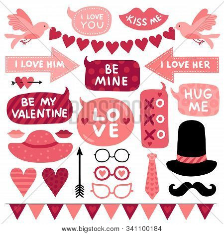 Valentines Day Photo Booth Props. Pink Love Wedding Symbol, Kiss And Mustaches, Female And Male Hat.