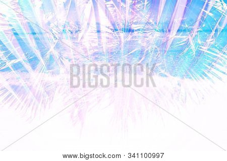 Palm Leaves And Sea Coast Double Exposure. Abstract Art Natural Background Screensaver, Banner. Tone