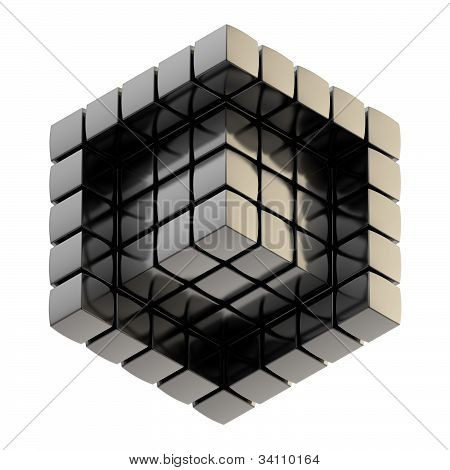 Abstract background as cube structure isolated on white poster