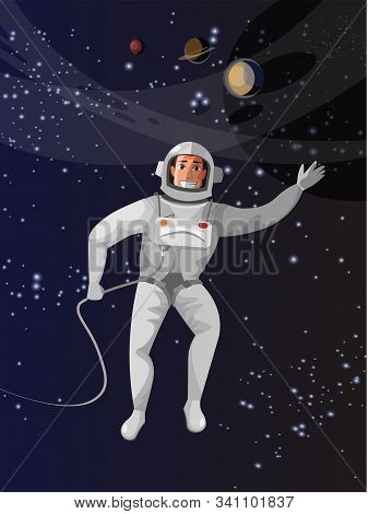 Astronaut In Outer Space Flat Vector Illustration. Brave Man Floating In Zero Gravity Cartoon Charac