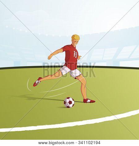 Football Player Flat Vector Illustration. Footballer Kicking Ball On Pitch Cartoon Character. Footba