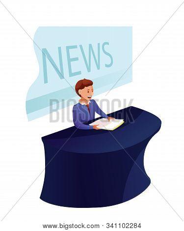 News Program Recording Flat Vector Illustration. News Reader. Shooting News Show In Studio. Newscast