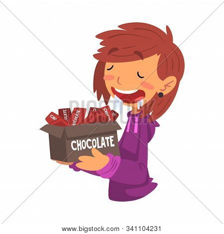 Girl Holding Box Full Of Chocolate Bars With Drool Flowing Down Her Mouth, Sweet Tooth Girl Cartoon