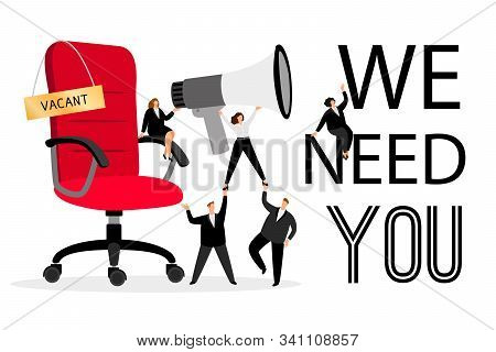 Hiring Office Chair. Hiring Advertising With People Wanted Employees Creative Concept For Business C