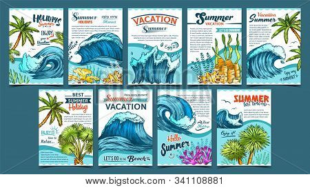 Wave, Palm Trees And Seaweeds Banner Set Vector. Collection Creative Advertising Poster With Green L