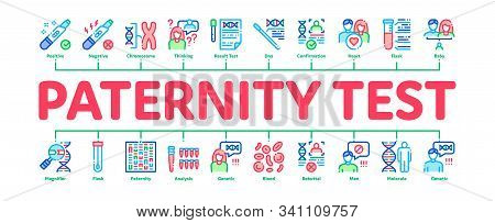 Paternity Test Dna Minimal Infographic Web Banner Vector. Man And Woman Silhouette, Chemistry Labora
