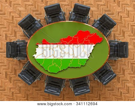 Hungarian Goverment Meeting. Map Of Hungary On The Round Table, 3d Rendering
