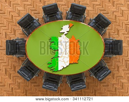 Irish Goverment Meeting. Map Of Ireland On The Round Table, 3d Rendering