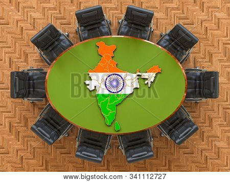 Indian Goverment Meeting. Map Of India On The Round Table, 3d Rendering