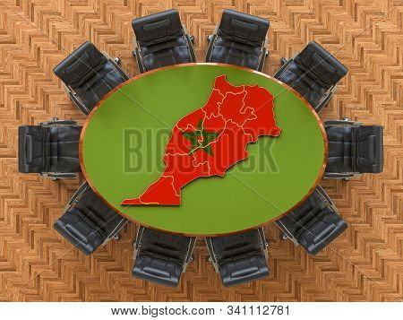 Moroccan Goverment Meeting. Map Of Morocco On The Round Table, 3d Rendering