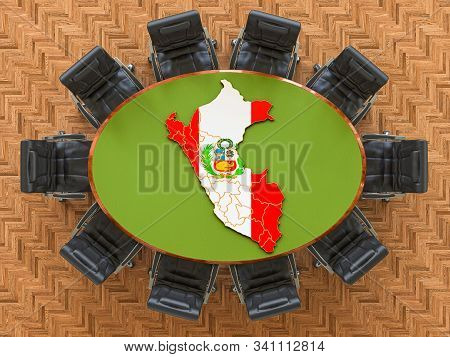 Peruvian Goverment Meeting. Map Of Peru On The Round Table, 3d Rendering