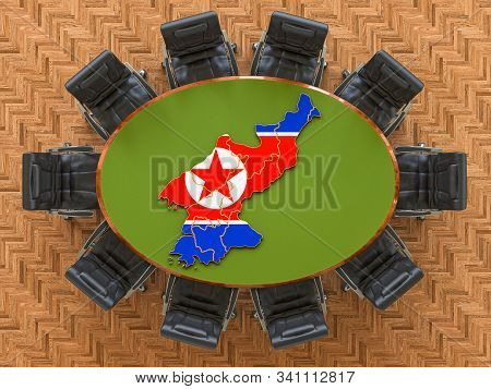 North Korean Goverment Meeting. Map Of North Korea On The Round Table, 3d Rendering