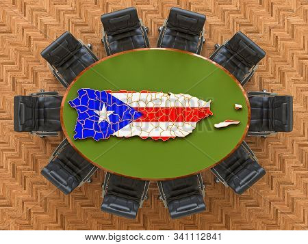 Puerto Rican Goverment Meeting. Map Of Puerto Rico On The Round Table, 3d Rendering