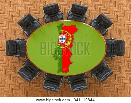 Portuguese Goverment Meeting. Map Of Portugal On The Round Table, 3d Rendering
